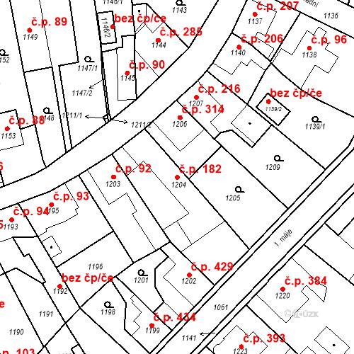 Katastrální mapa Stavební objekt Dobrovice 182, Dobrovice
