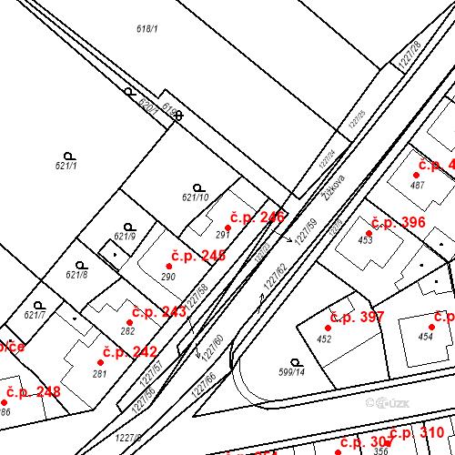 Katastrální mapa Stavební objekt Bakov nad Jizerou 246, Bakov nad Jizerou