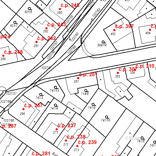 Katastrální mapa Stavební objekt Bakov nad Jizerou 251, Bakov nad Jizerou