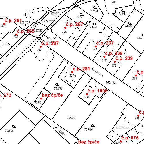 Katastrální mapa Stavební objekt Bakov nad Jizerou 281, Bakov nad Jizerou