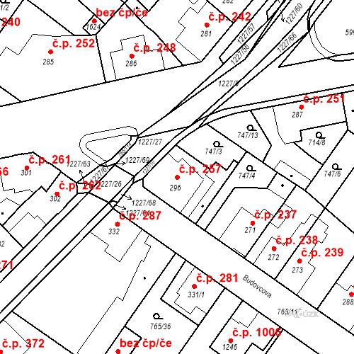 Katastrální mapa Stavební objekt Bakov nad Jizerou 257, Bakov nad Jizerou