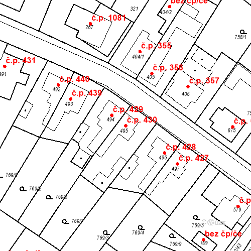 Katastrální mapa Stavební objekt Bakov nad Jizerou 430, Bakov nad Jizerou