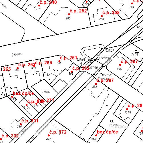 Katastrální mapa Stavební objekt Bakov nad Jizerou 262, Bakov nad Jizerou