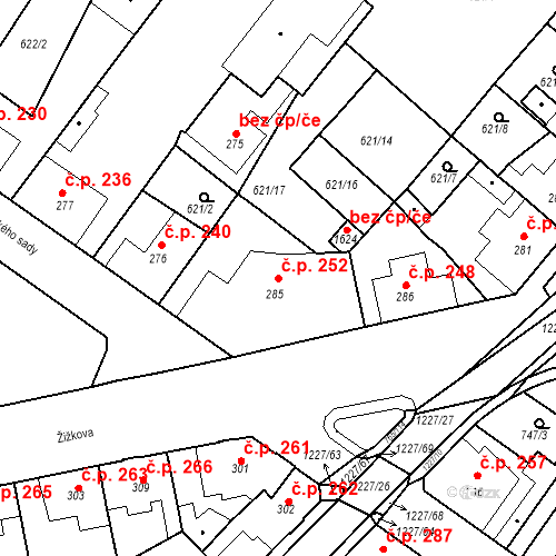 Katastrální mapa Stavební objekt Bakov nad Jizerou 252, Bakov nad Jizerou