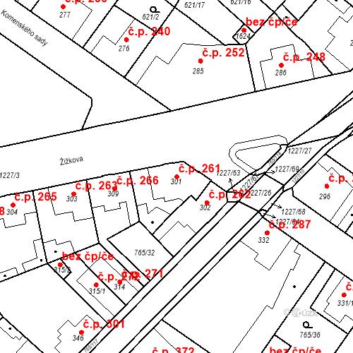 Katastrální mapa Stavební objekt Bakov nad Jizerou 261, Bakov nad Jizerou