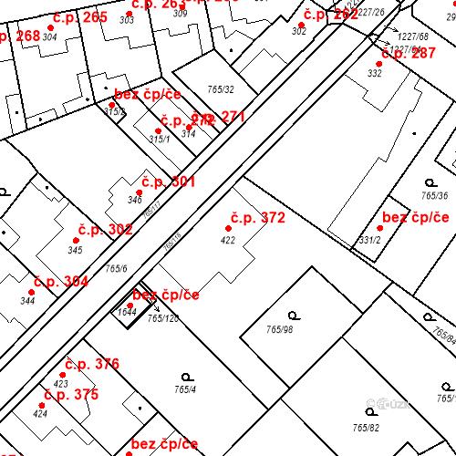 Katastrální mapa Stavební objekt Bakov nad Jizerou 372, Bakov nad Jizerou