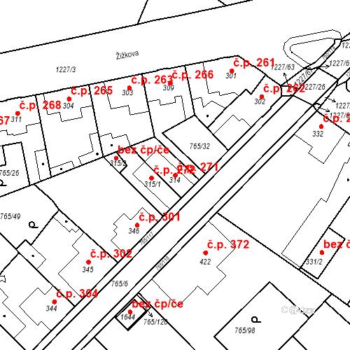 Katastrální mapa Stavební objekt Bakov nad Jizerou 271, Bakov nad Jizerou