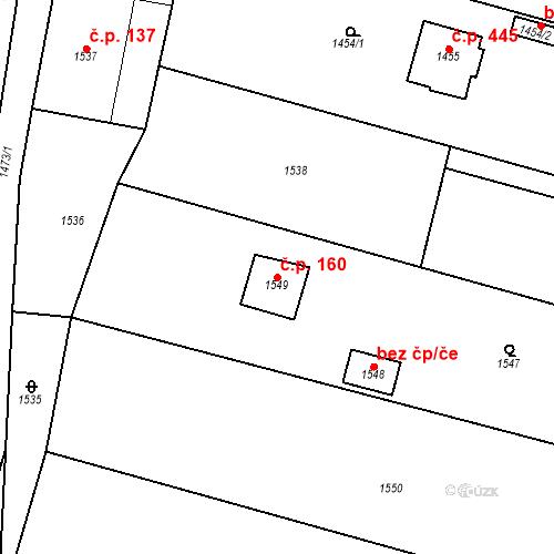 Katastrální mapa Stavební objekt Dobrovice 160, Dobrovice