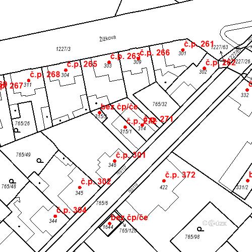 Katastrální mapa Stavební objekt Bakov nad Jizerou 272, Bakov nad Jizerou