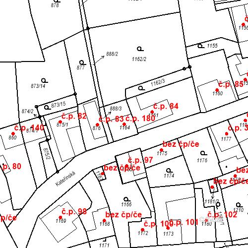 Katastrální mapa Stavební objekt Dobrovice 180, Dobrovice