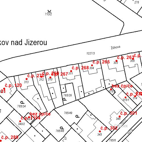 Katastrální mapa Stavební objekt Bakov nad Jizerou 268, Bakov nad Jizerou