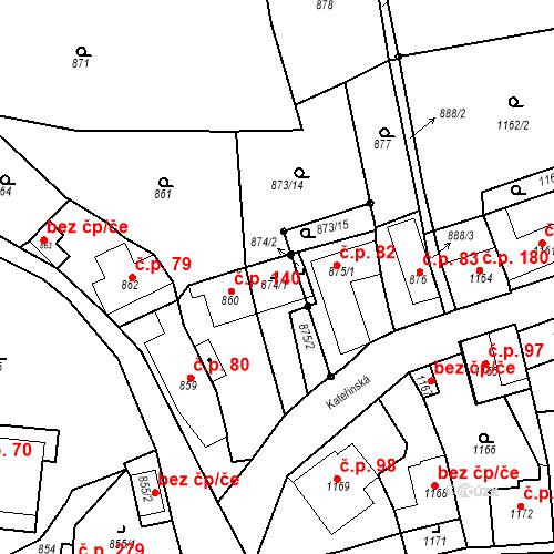 Katastrální mapa Stavební objekt Dobrovice 165, Dobrovice