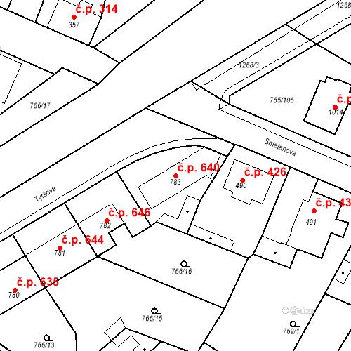 Katastrální mapa Stavební objekt Bakov nad Jizerou 640, Bakov nad Jizerou