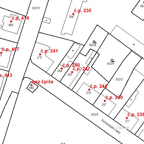 Katastrální mapa Stavební objekt Bakov nad Jizerou 247, Bakov nad Jizerou
