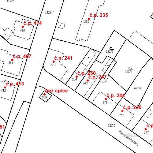 Katastrální mapa Stavební objekt Bakov nad Jizerou 250, Bakov nad Jizerou