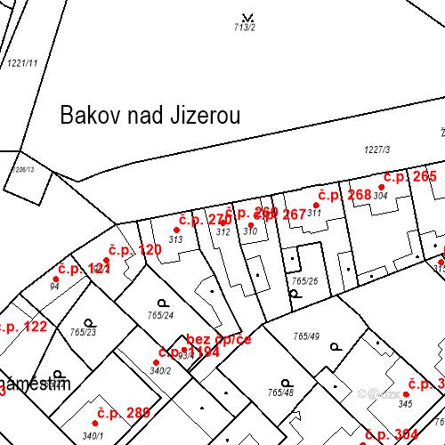 Katastrální mapa Stavební objekt Bakov nad Jizerou 269, Bakov nad Jizerou