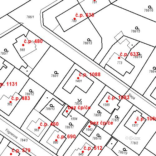 Katastrální mapa Stavební objekt Bakov nad Jizerou 1088, Bakov nad Jizerou