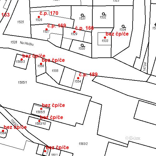 Katastrální mapa Stavební objekt Dobrovice 189, Dobrovice