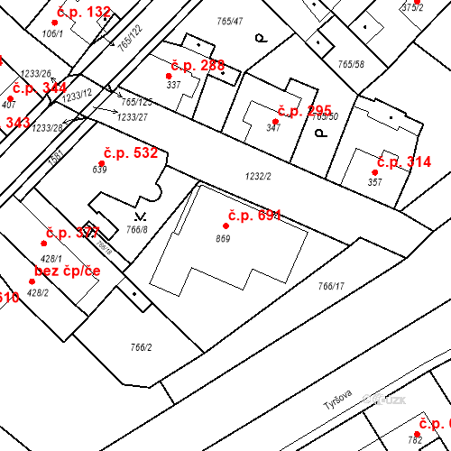 Katastrální mapa Stavební objekt Bakov nad Jizerou 691, Bakov nad Jizerou