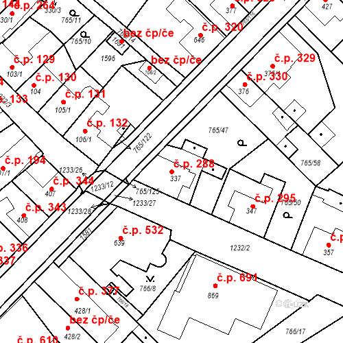 Katastrální mapa Stavební objekt Bakov nad Jizerou 288, Bakov nad Jizerou
