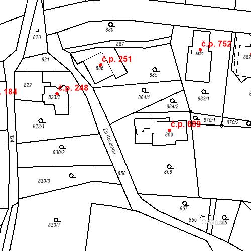 Katastrální mapa Stavební objekt Dobrovice 164, Dobrovice