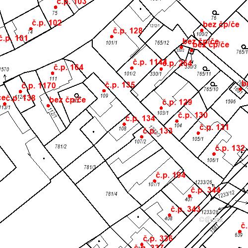 Katastrální mapa Stavební objekt Bakov nad Jizerou 134, Bakov nad Jizerou