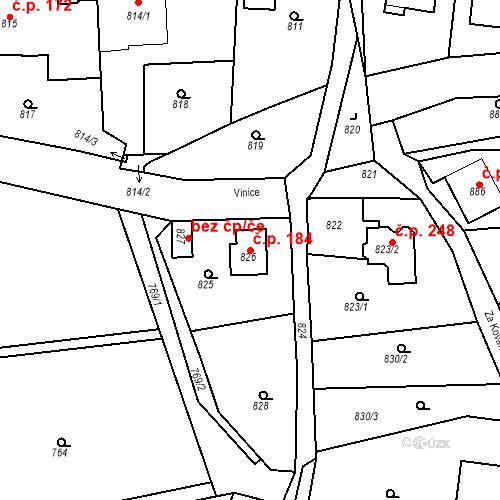 Katastrální mapa Stavební objekt Dobrovice 184, Dobrovice