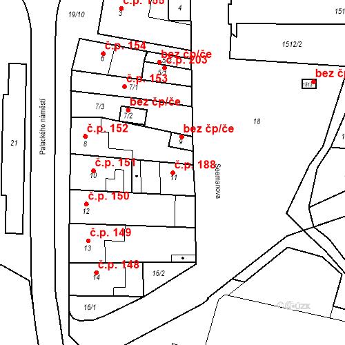 Katastrální mapa Stavební objekt Dobrovice 188, Dobrovice