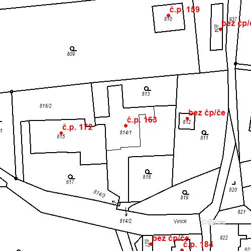 Katastrální mapa Stavební objekt Dobrovice 163, Dobrovice
