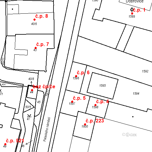 Katastrální mapa Stavební objekt Dobrovice 6, Dobrovice