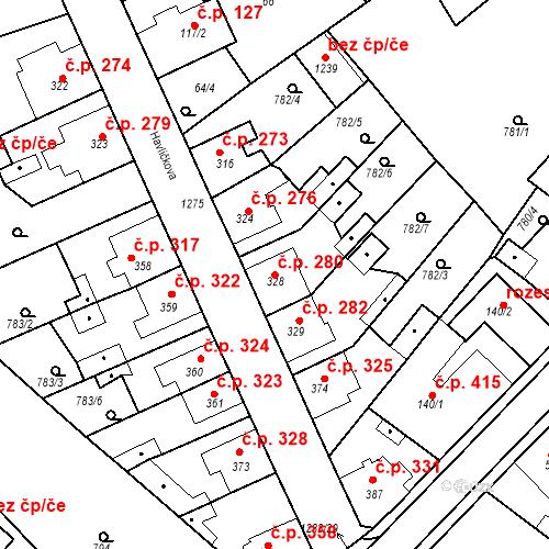 Katastrální mapa Stavební objekt Bakov nad Jizerou 280, Bakov nad Jizerou