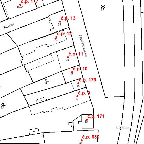 Katastrální mapa Stavební objekt Dobrovice 10, Dobrovice