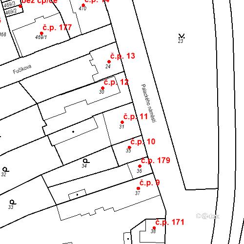 Katastrální mapa Stavební objekt Dobrovice 11, Dobrovice