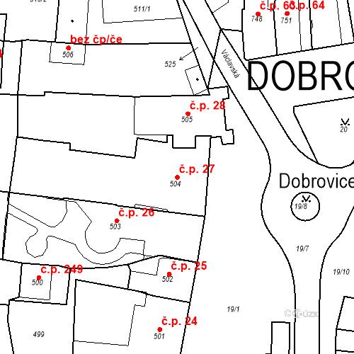 Katastrální mapa Stavební objekt Dobrovice 27, Dobrovice