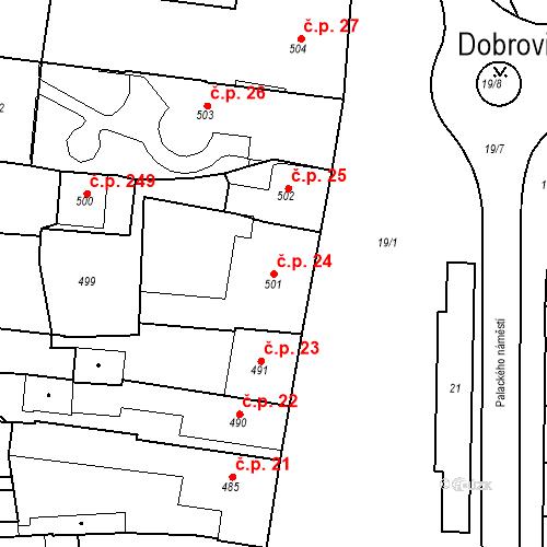 Katastrální mapa Stavební objekt Dobrovice 24, Dobrovice