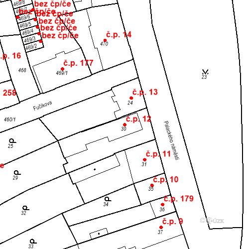 Katastrální mapa Stavební objekt Dobrovice 12, Dobrovice