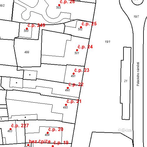 Katastrální mapa Stavební objekt Dobrovice 23, Dobrovice