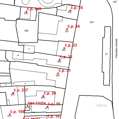 Katastrální mapa Stavební objekt Dobrovice 22, Dobrovice