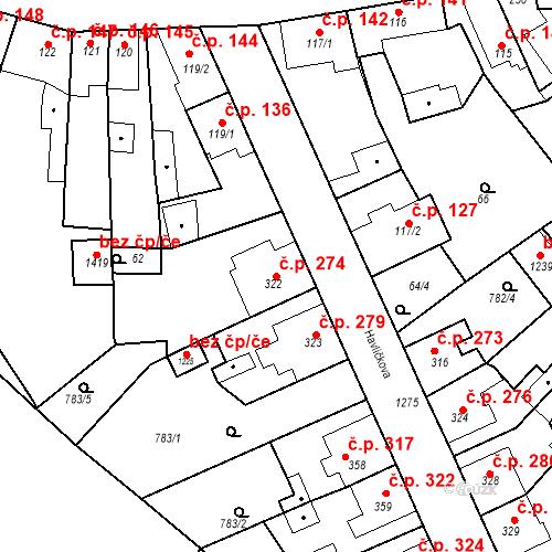 Katastrální mapa Stavební objekt Bakov nad Jizerou 274, Bakov nad Jizerou