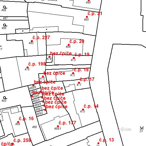 Katastrální mapa Stavební objekt Dobrovice 18, Dobrovice