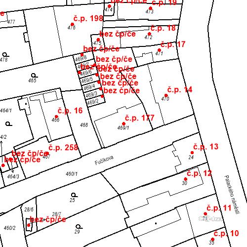 Katastrální mapa Stavební objekt Dobrovice 177, Dobrovice