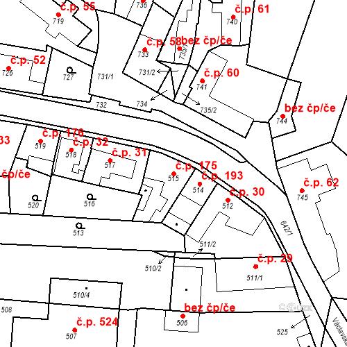 Katastrální mapa Stavební objekt Dobrovice 175, Dobrovice