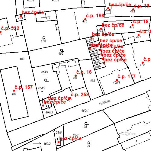 Katastrální mapa Stavební objekt Dobrovice 16, Dobrovice