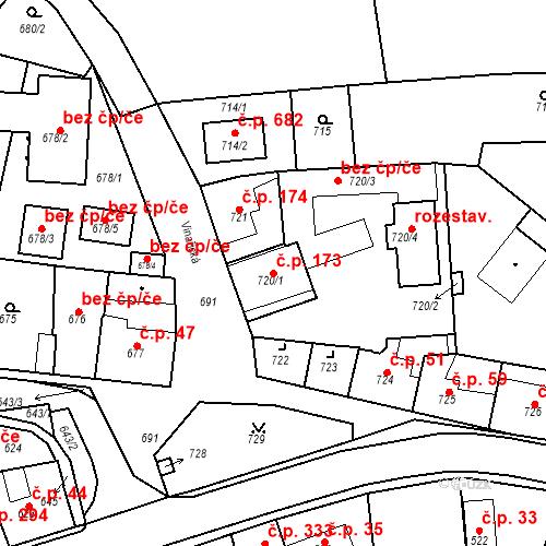 Katastrální mapa Stavební objekt Dobrovice 173, Dobrovice