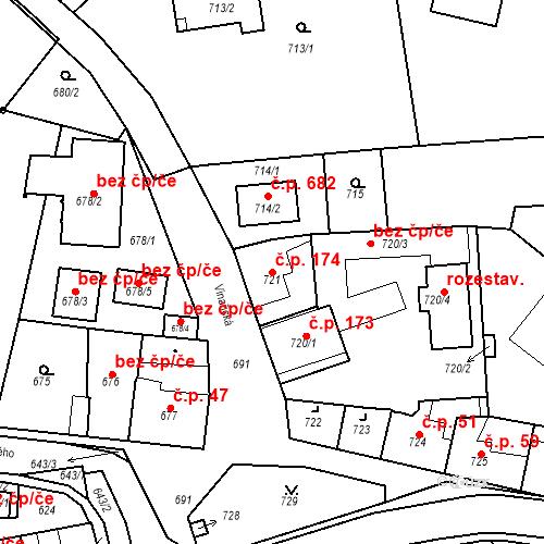 Katastrální mapa Stavební objekt Dobrovice 174, Dobrovice