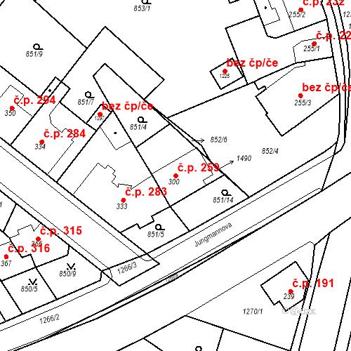 Katastrální mapa Stavební objekt Bakov nad Jizerou 259, Bakov nad Jizerou