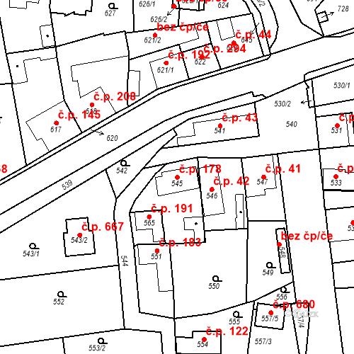 Katastrální mapa Stavební objekt Dobrovice 178, Dobrovice