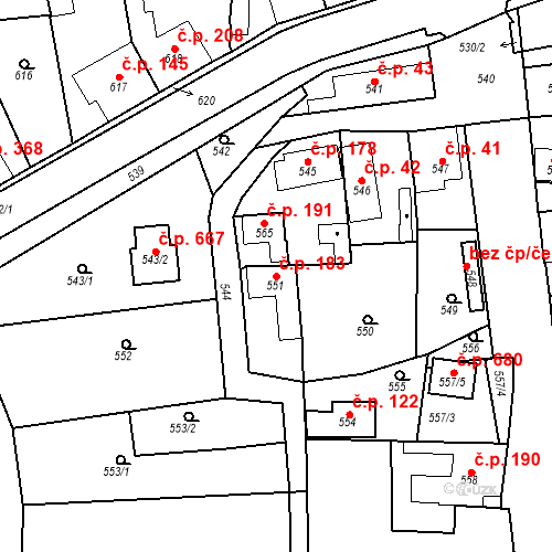 Katastrální mapa Stavební objekt Dobrovice 183, Dobrovice