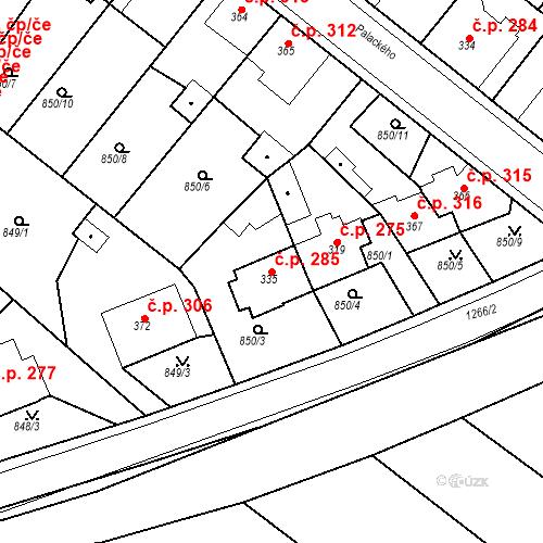Katastrální mapa Stavební objekt Bakov nad Jizerou 285, Bakov nad Jizerou