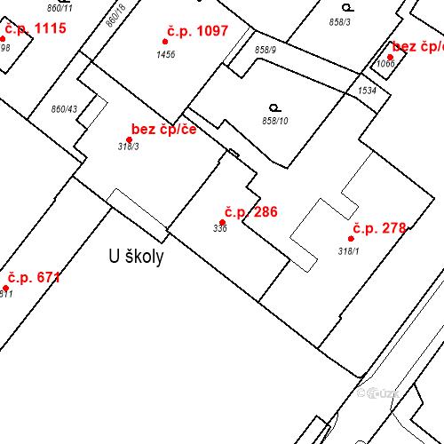 Katastrální mapa Stavební objekt Bakov nad Jizerou 286, Bakov nad Jizerou